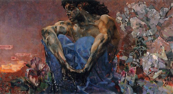 Russian Art: Mikhail Vrubel (1856-1910)  Demon Seated - 1890
