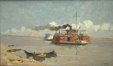 On the Amu-Darya River: 1967.  Faim Madgazin (1930-1991. Graduated from the Tashkent Art School. He is considered to be one of the first professional artists of Karakalpakstan. Madgazin's most favorite genre was landscape. The peculiar charm of Karakalpak nature was conveyed by the artist with a great skill who managed to depict harmony in scenes of local nature. Nowadays, these landscapes illustrate the former strength and abundance of full-flowing and capricious Amu-Darya River.