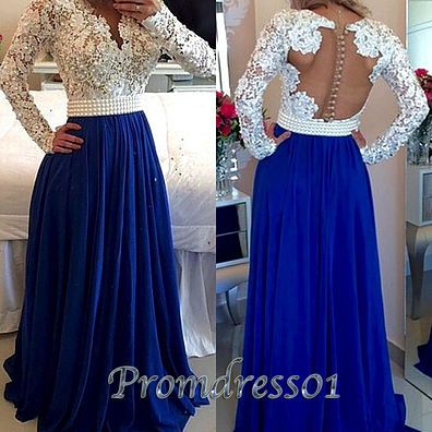 2016 elegant open back white lace blue chiffon long prom dress with sleeves…