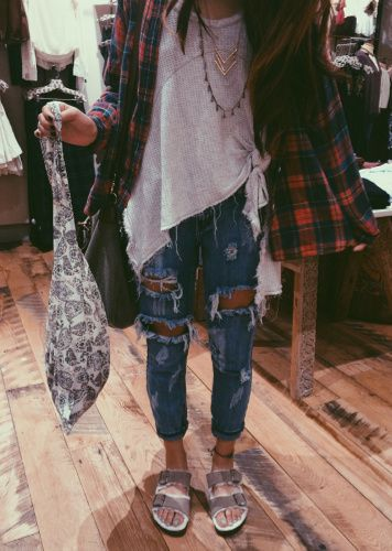 Pair Birkes with some plaid and ripped jeans and you'll be on trend.