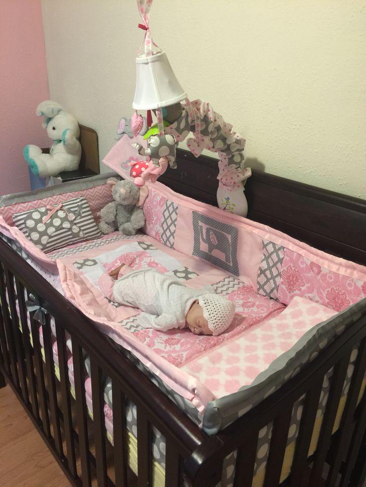 Nursery bedding. Pink and grey. Elephants!