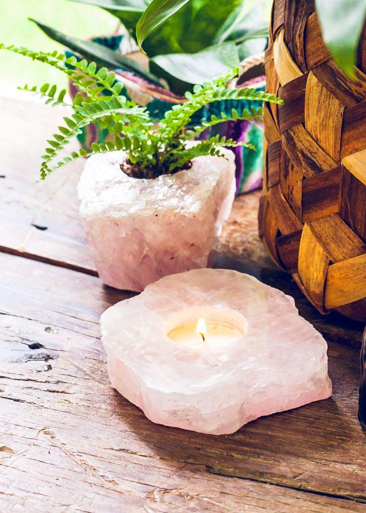 Rose Quartz Slab Candle Holder | Bohemian Home Decor by SoulMakes #candleholder #quartz #rosequartz