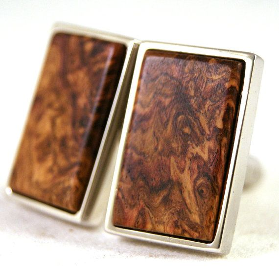 Cuff links  Honduras Rosewood Burl in Sterling Silver by dfuss, $85.00