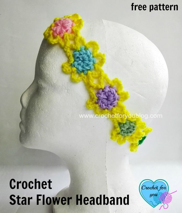 Crochet Star Flower Headband - free pattern | crochet hats, ear ...