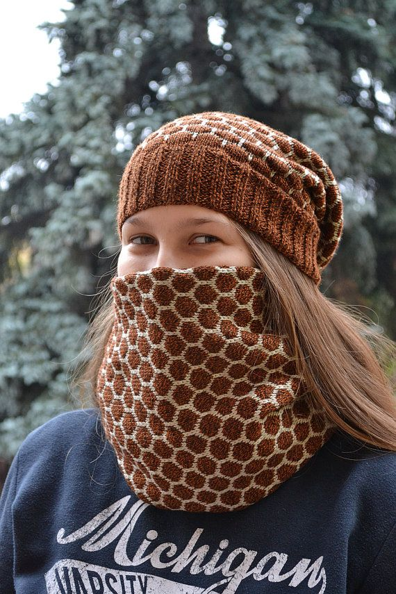 Knitted  Hat & Scarf loop beige and brown beanie by DosiakStyle #knittedhatscarf #handmadehat #handmadescarf