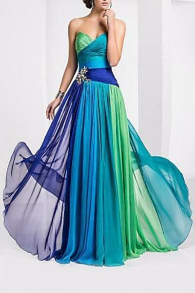 Teal Blue Green Ombre Color Block Sweetheart Neck Sleeveless Maxi Dress