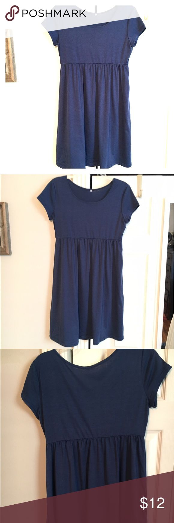 Pretty blue empire waist dress. Size M or 4 Cute blue dress! Goes with any season. Wear with boots and a jacket for fall or sandals for summer. It's brand new, but it didn't come with tags, and there is a little bit of deodorant on the inside from trying it on. It has an elastic, empire waist.  Measurements (all approx). Total length: 35, armpit to armpit: 16 Dresses Midi