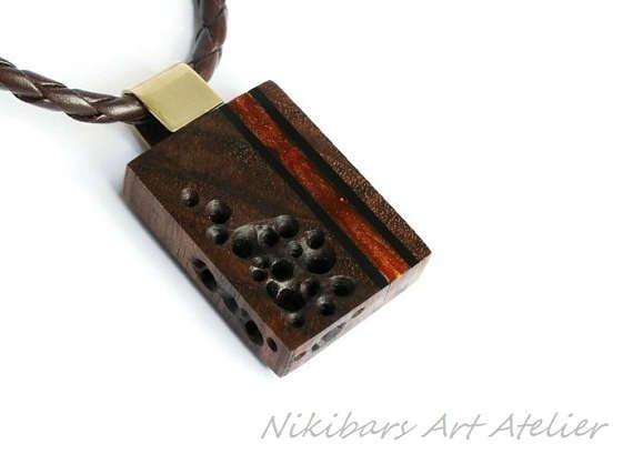 Men's Wood Necklace Classic Wooden Pendant Necklace
