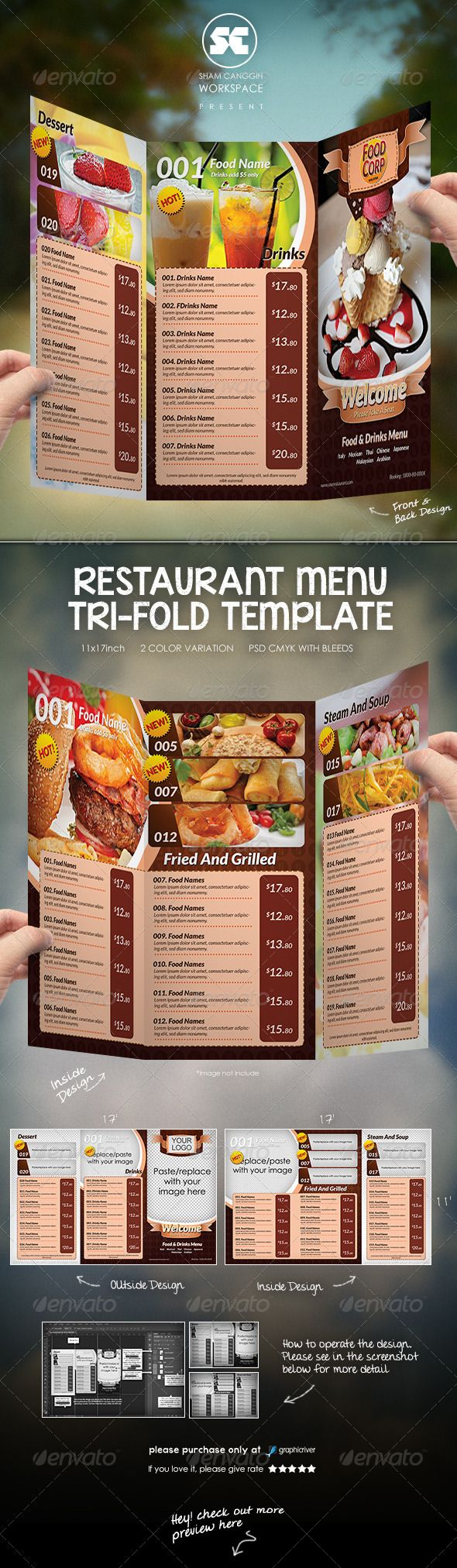 "Tri-Fold Restaurant Menu Template #GraphicRiver Menu design suitable for restaurants, fast food, take out, pizza places etc. Description : Tri-Fold Style 11×17"" + 0.25 bleeds 2x PSD (front/back design & inside design) 300dpi cmyk Font used : Lato available here .fontsquirrel /fonts/lato Other Information : This is Design Template for Restaurant Menu with Tri-fold Style. It is a Print template not a Tri-fold Mock-Up template that you can put your design. Please see In the SCREENSHOT for more…"