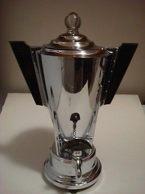 ART DECO MANNING BOWMAN CHROME BAKELITE COFFEE MAKER