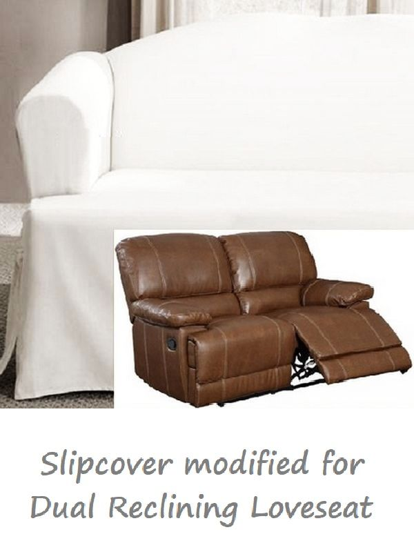 Dual Reclining Loveseat Slipcover T Cushion White Cotton Sure Fit