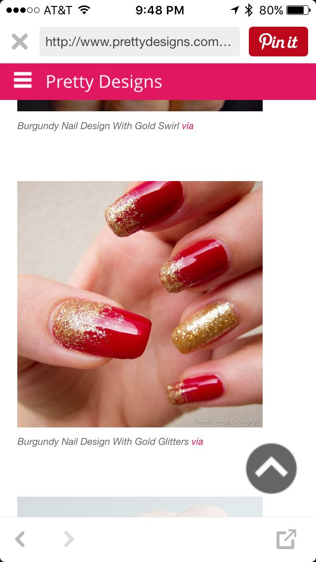 Red And Golden Nail Art Designs | Hession Hairdressing