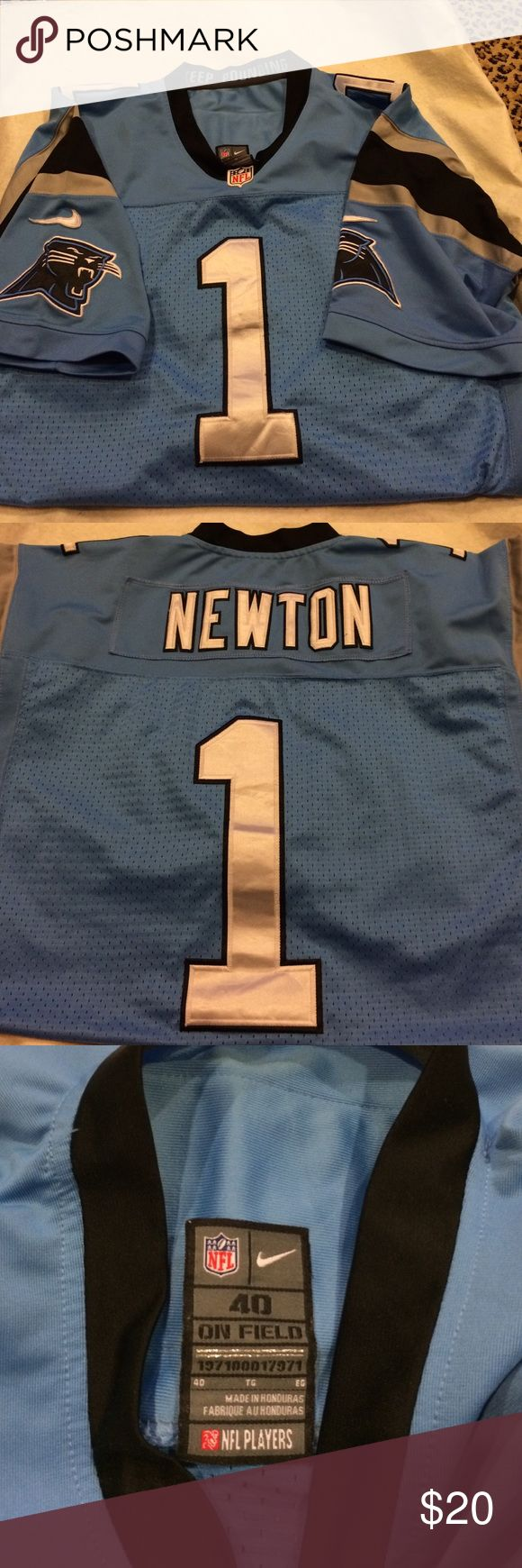 """""""Nike"""" Like Cam Newton Panthers Jersey. Men's 40. """"Nike"""" Like Men's Cam Newton Panthers Jersey. Men's Size 40. Gently used very good condition. Some wrinkles around the sewn on numbers. All sewn on letters and numbers. Smoke Free/Pet Free Home. Shirts"""