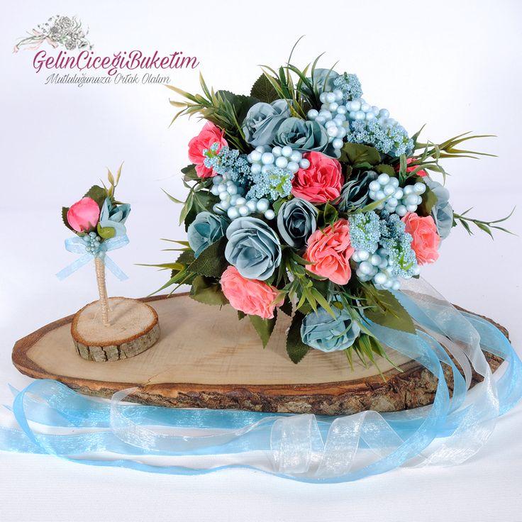 Mavi Pembe Şakayıklar & Güller Gelin Çiçeği ve Damat Yaka Çiçeği (2'li Set)