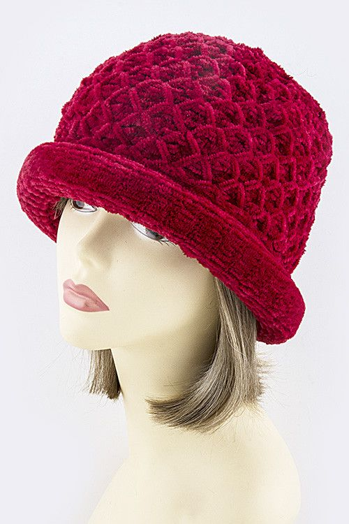 """VELVET DIAMOND KNIT DESIGN SHORT BEANIE • One size fits most • Approx. 7"""" diameter • 100% Acrylic Brown, Blue, Camel, Red"""