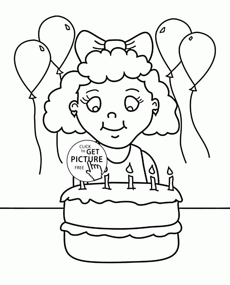 Girl and Birthday Cake coloring page for kids, holiday ...