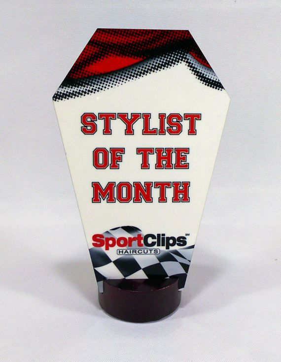 SportClips Custom Award Krystal Personalized by BlueFireEngraving