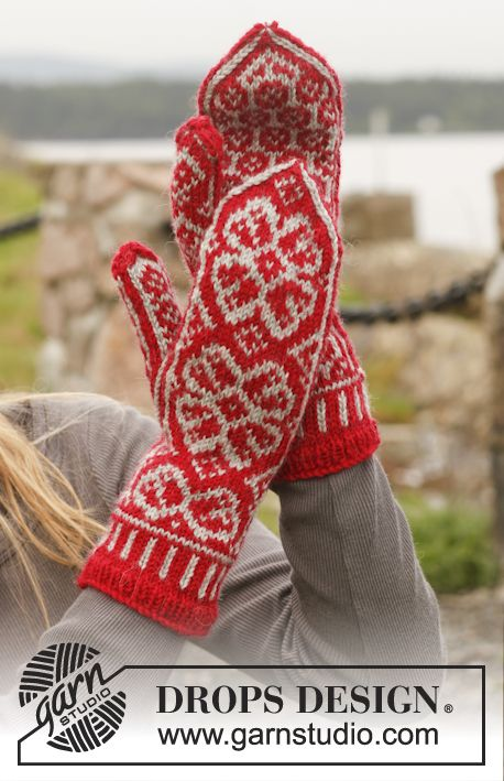 "Knitted DROPS mittens with Nordic pattern in ""Karisma"". ~ DROPS Design Fall…"