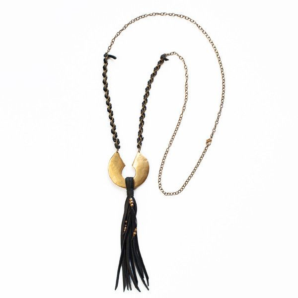 """Heavy hand carved and cast brass pendant with leather tassel, on brass chain woven with leather. 32"""" Length"""