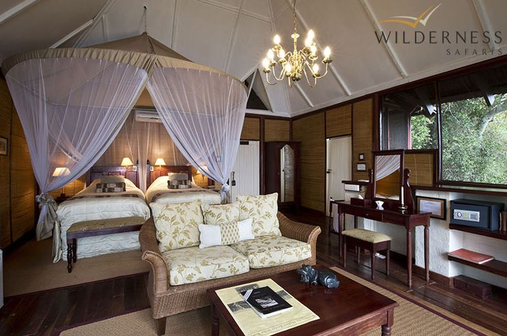 The River Club - Ten luxury chalets are spread out amongst the riverine vegetation, comprising luxurious bedrooms and en-suite bathrooms, most being split-level. #Safari #Africa #Zambia #WildernessSafaris