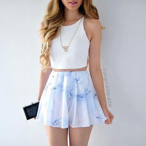 Nice light blue skirt . With a white shirt . Outfit is so simple yet so beautiful . Follow me @boo1146 for more !