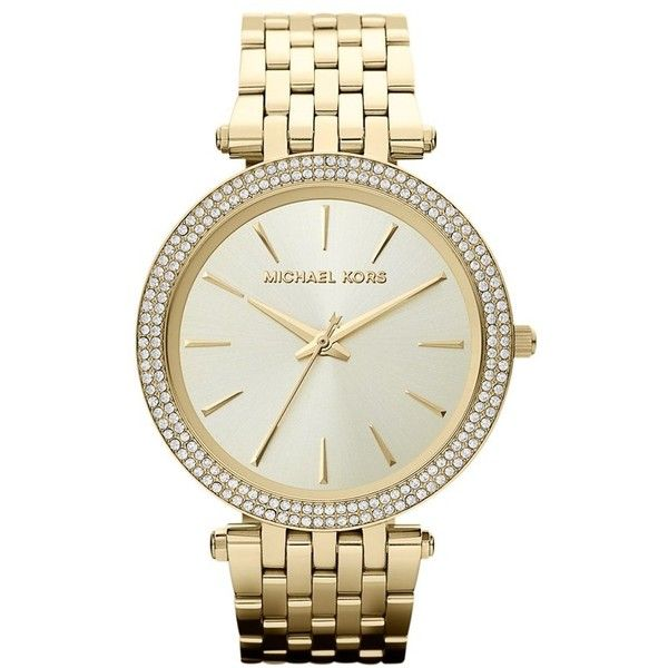 Women's Michael Kors 'Darci' Round Bracelet Watch, 39Mm ($156) ❤ liked on Polyvore featuring jewelry, watches, bracelets, accessories, gold, gold watch bracelet, gold watches, bezel watches, bezel jewelry and michael michael kors