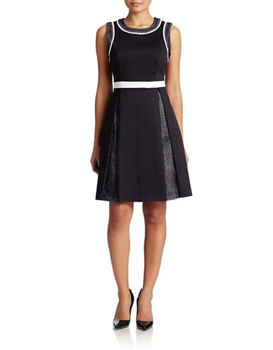 Perforated Pleat Fit-And-Flare Dress by Calvin Klein at Style Cross, (Calvin Klein) online shopping