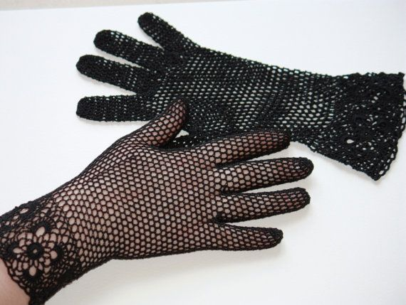 Vintage Style Crochet Lace Gloves, black - free shipping