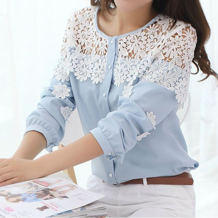 2014 Spring New Korean Long sleeve Hollow out Crochet lace Patchwork Chiffon shirt Blouse Lace shirt Women