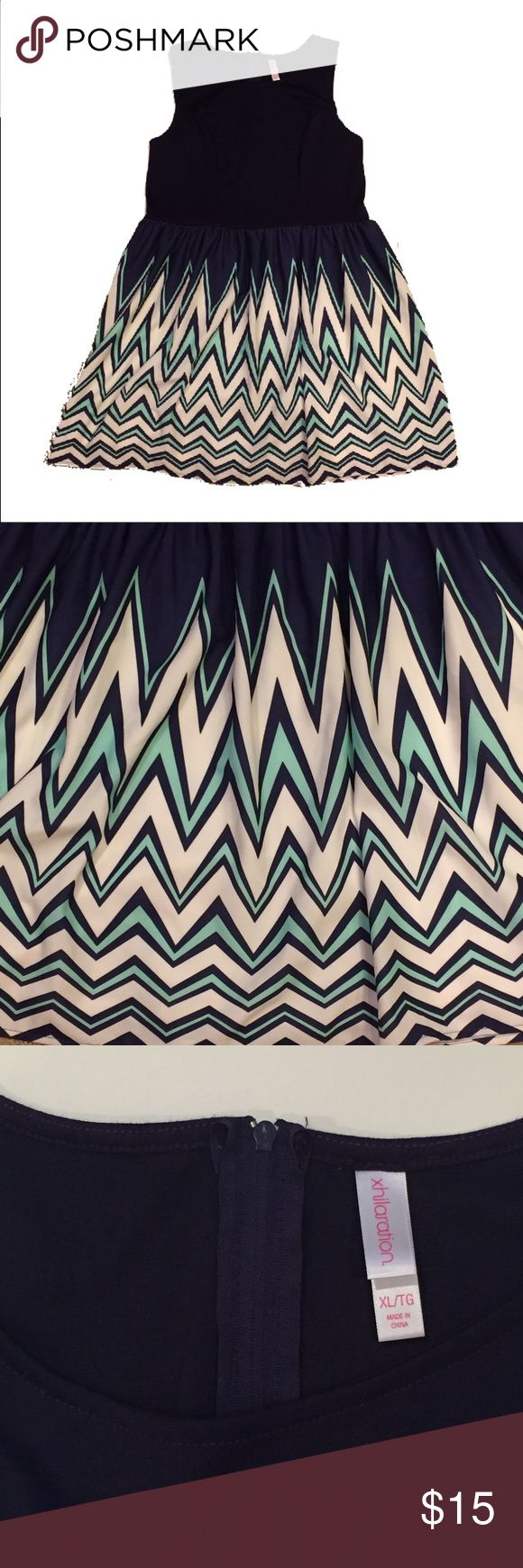 Chevron Print Xhileration Dress Solid navy top with darting. Bottom half is a teal, white and navy chevron print. Xhilaration Dresses