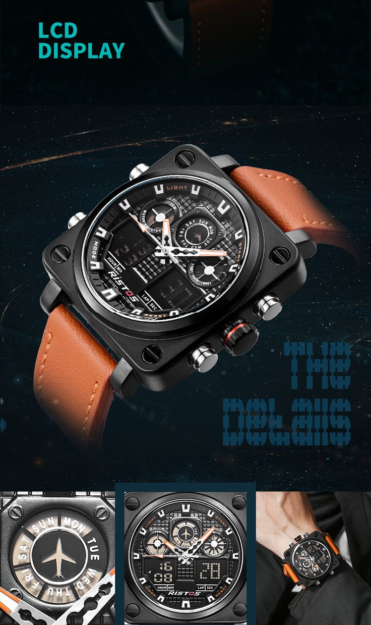 Stylish Square Watches Chronograph Dual Display Leather Band Digital Watch Big Watches online - NewChic