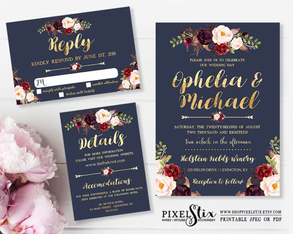 Printable Wedding Invitation, Navy Blue and Gold Foil, Dark Rustic Flowers, Floral Wedding Invite, Burgundy, Marsala, Rose and Peony