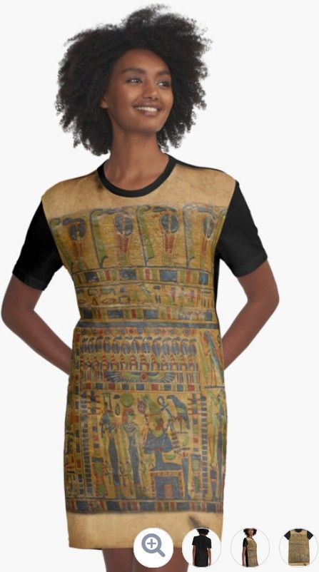 Ancient Egyptian Art Scroll Design on a sweet Red Bubble T-Shirt Dress - http://www.redbubble.com/people/ravenprints/works/23390402-ancient-egyptian-funerary-scroll-pre-944-bc?asc=u&p=graphic-t-shirt-dress&rel=carousel