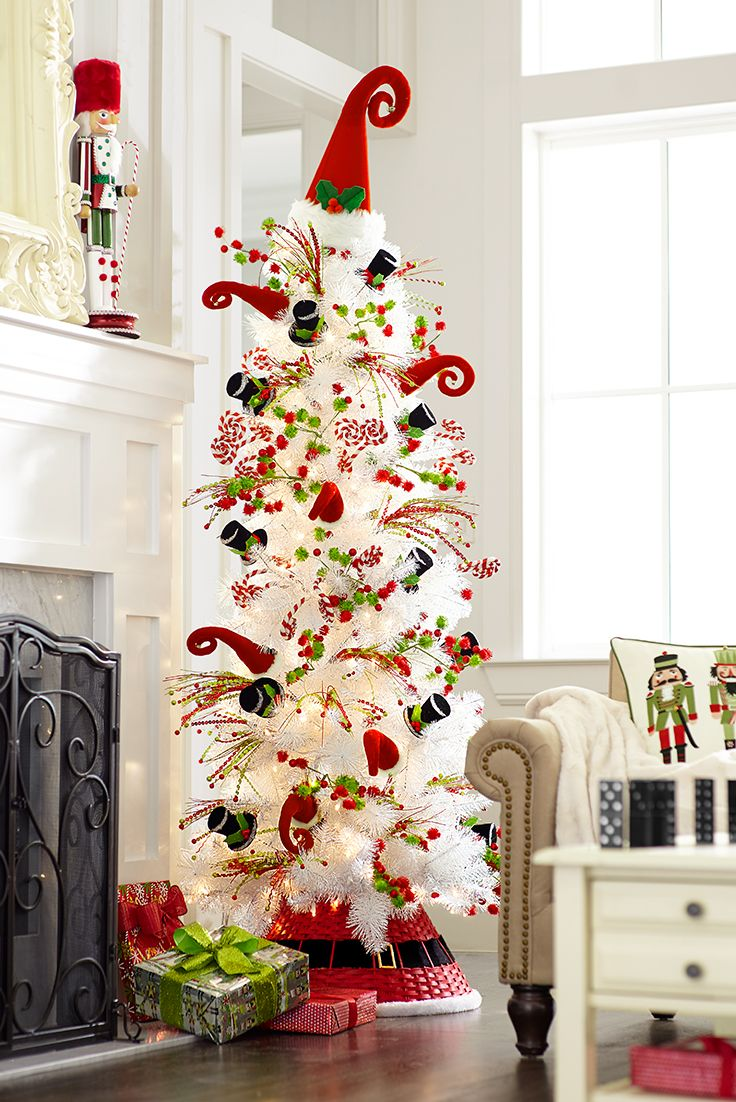 If this tree makes you think of a wild party at the North Pole, then you're on the right track with the Pier 1 Peppermint Party look, paying tribute to the fun, playful side of Christmas with plenty of elves, nutcrackers, snowmen and bright holiday colors.