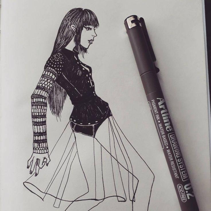 fashion #17o18 #sketchesoninstagram #sketch #fashionsketches #fashionsketch #inksketch #alexanderwang #artline