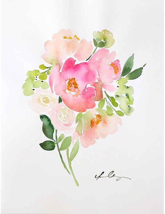 Bouquet of Pink Peonies - Original water color by Yao Cheng for $480