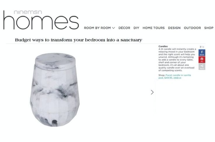 Luxe Facet Candle featured on ninemsn homes.  #loveshackbyebandive #ebandivelifestyle #summer #lifestyle #love #home #marble #candle