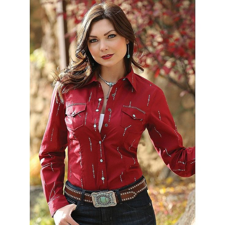 CTW7053003 Cruel Girl Ladies Arena Fit Aztec Western Shirt - Red NEW #CruelGirl #Western