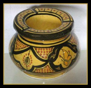Ashtray Medium By Treasures Of Morocco This ceramic ashtray is authentic and is handcrafted. It measures 4 in W x 3.75 in H. Since this items are handmade, the measurement may vary slightly. Cigar smokers will love them. http://theceramicchefknives.com/ceramic-ashtray-lid/