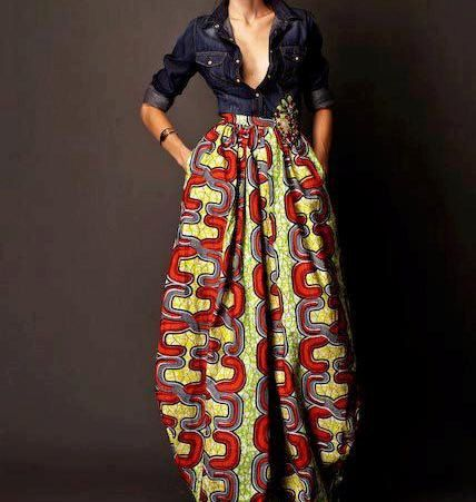 Long Maxi Skirt   in African Fabric. Pleated with Pocket