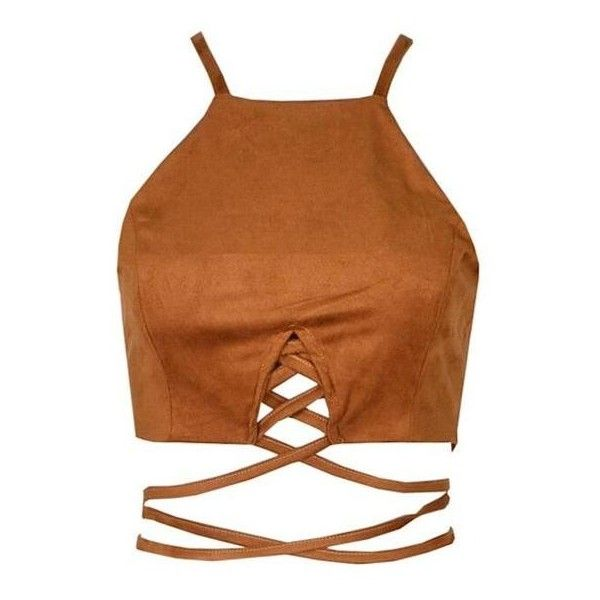 Ola Suede Cropped Top Brown ($66) ❤ liked on Polyvore featuring tops, cut-out crop tops, cutout tops, brown top, sleeveless tops and sleeveless crop top