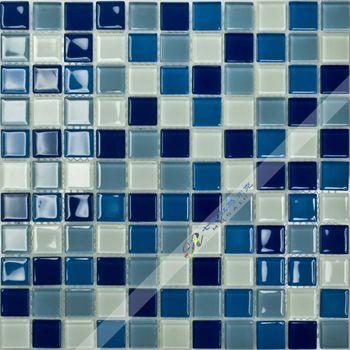 [Colorful Mosaic] Wholesale Glass mosaic tile Blue  White Mixed Wall Kitchen Backsplash wall sink bathroom spa Promotion