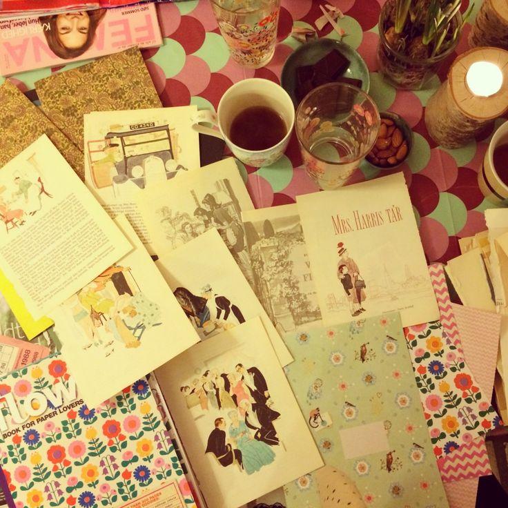 """365 moodboards i 2014. Moodboard #57: Kreaklub stemning. Flow book for paper lovers og """"Mrs Harris ta'r til New York"""" illustrationer. Fotograf: Susanne Randers"""