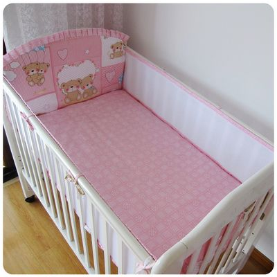 Promotion! 5PCS Mesh Baby Nursery Bedding Cot bedding set for newborn baby boy,(4bumpers+sheet)
