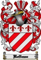 Hoffman Coat of Arms - German and Jewish (Ashkenazic): variant of Hoffmann 'steward'.Dutch: occupational name for a farm laborer or a gardener, someone who worked at the hof, the manor farm.