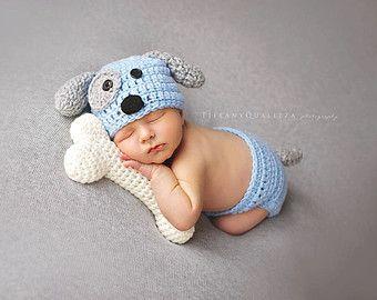 Chapeau de chiot nouveau-né, bonnet bébé chiot, au crochet, chapeau de chiot, prop photo nouveau-né, vêtements de bébé garçon, tenue de maison qui viennent bonnet nouveau-né, bleu