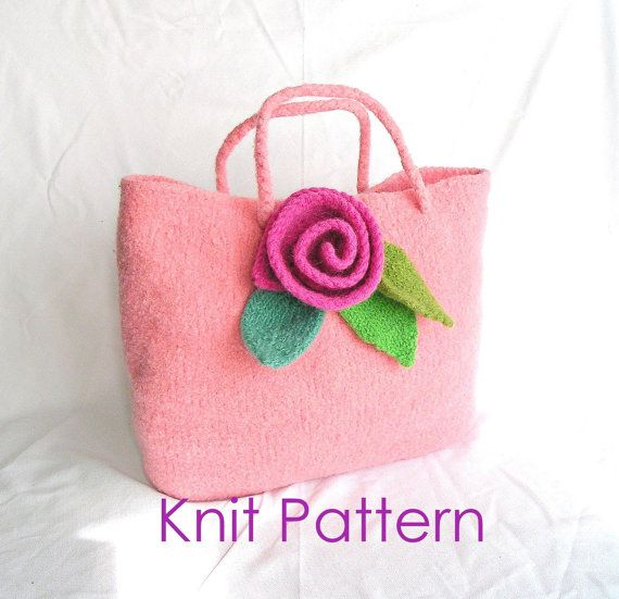 Knitting Bag Pattern Pinterest : Knit Bag Pattern Tutorial pdf, Felted Flower Bag Knitting Pattern, Rose Bag K...