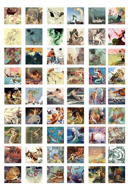 "Free Bottle Cap Images: Vintage mermaids - 1"" inch square images"