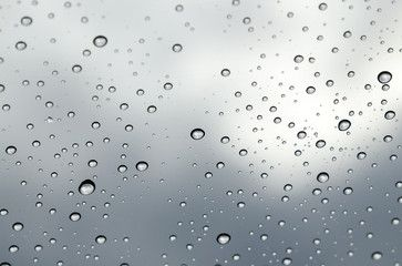 Condensation on glass, condensation on window, waterdrop on glass after rain