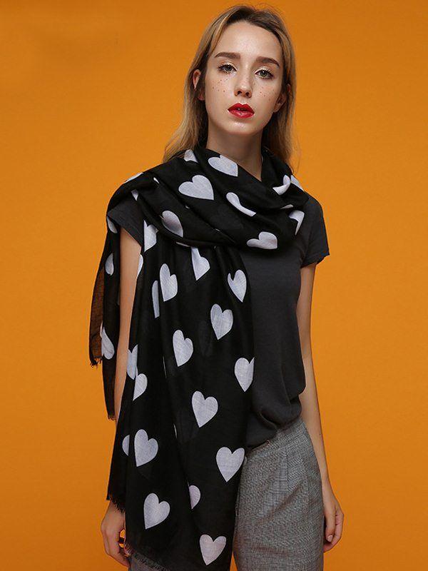 6734f2233fe Vinfemass Hearts Printed Cotton Scarf